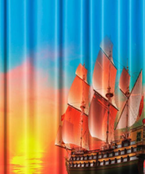 Фото штора для ванной текстильная Паруса