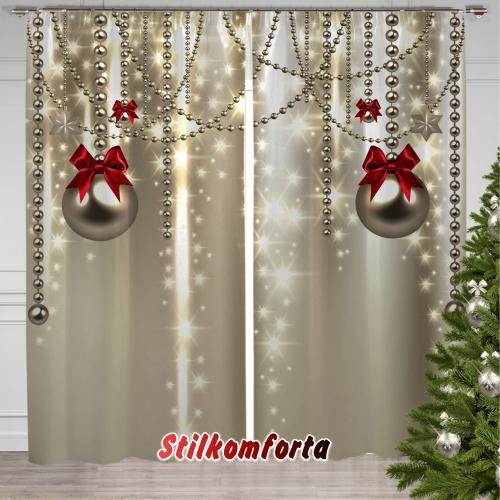Набор новогодняя скатерть и тюль / шторы Бусы