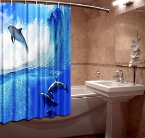 Фото штора для ванной текстильная Деньфинки