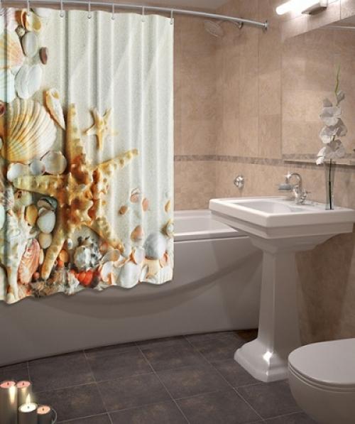 Тканевые шторы для ванной комнаты Дар океана