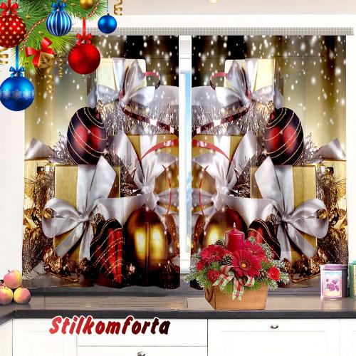 Набор новогодний скатерть + шторы/тюль на кухню Новогоднее чудо