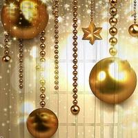 Набор новогодний скатерть и тюль/шторы на кухню Золотые шары