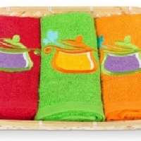 Набор кухонных полотенец в корзине 0511