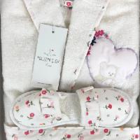 Детский махровый халат с тапочками для девочки Эльф