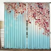 Комплект шторы и тюль Дикая сакура