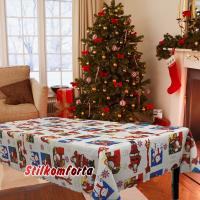 Новогодняя скатерть Санта и снеговик