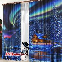 Новогодние фотошторы и тюль на окно Сияние