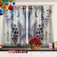 Комплект новогодний шторы/тюль и скатерть на кухню Ледяной узор