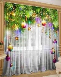 Новогодние шторы тюль
