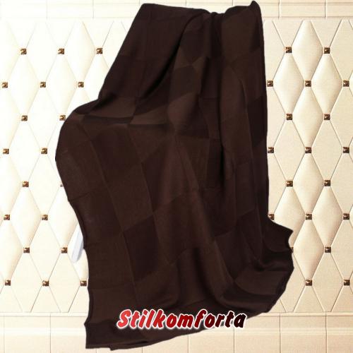 Шерстяной вязаный плед Шоколад квадраты