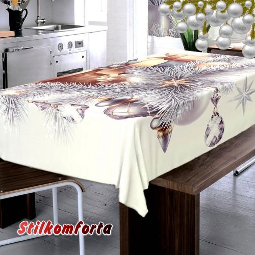Набор новогодний шторы/тюль и скатерть на кухню Ледяной узор