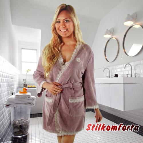 Женский махровый халат с кружевом Силин короткий бамбук
