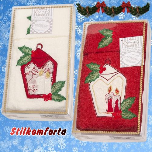 Новогодние махровые полотенца в коробке Фонарик