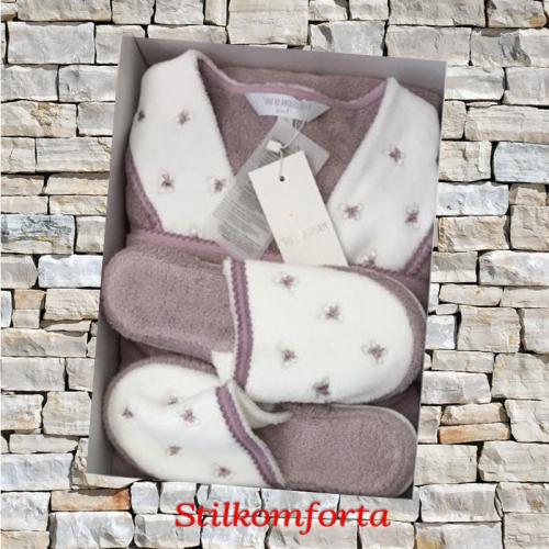 Махровый женский халат с тапочками Баттерфляй