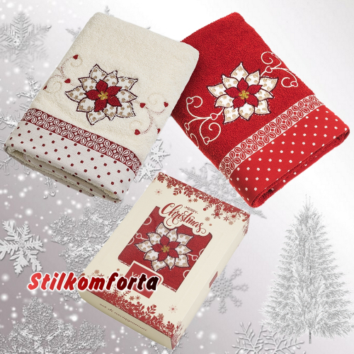 Новогодние полотенца махровые в коробке Алисе