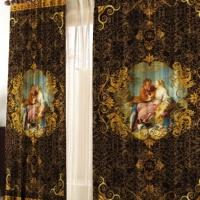 Фотошторы с печатью Лауретта коричневые