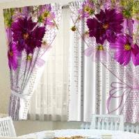 Фотошторы для кухни Вуаль из цветов