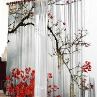 Комплект шторы и тюль Красный клен