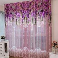 Тюль 3D / фототюль Ламбрикен волшебный сад розовый