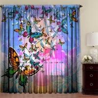 Комплект шторы и тюль Бабочки