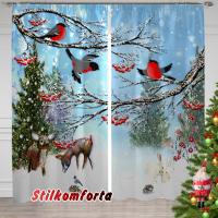 Новогодние шторы / тюль Лесная сказка