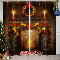 Новогодние шторы / тюль Камин