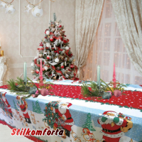 Новогодняя скатерть Дед мороз с подарками