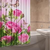 Фото штора для ванной текстильная Розовое лето