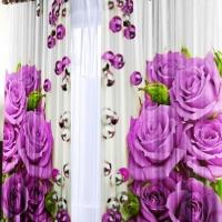 Фотошторы 3d Лиловые розы
