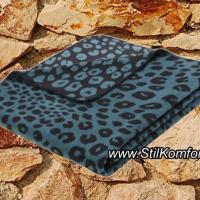 Дизайнерский плед Леопард бирюзовый