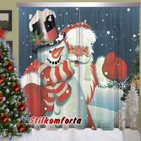 Новогодние шторы / тюль Дед мороз и снеговик