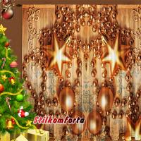 Новогодние шторы / тюль Золотая гирлянда