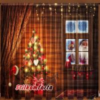 Новогодние шторы / тюль Дед мороз в окошке