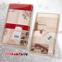 Новогодние махровые полотенца в коробке Рождественские