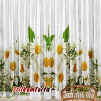 Комплект шторы и скатерть Ромашки полевые скидки