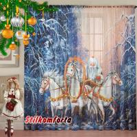 Новогодние шторы / тюль Дед Мороз в тройке