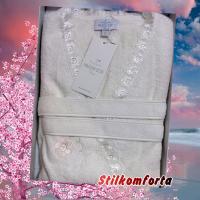 Женский махровый халат с кружевом Силин Ланг бамбук