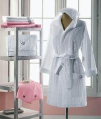 Вафельный женский халат с капюшоном Сан