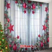 Новогодние шторы / тюль Красные шары и звезды