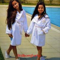 Набор махровый халат с капюшоном и тапочки для девочки Алба