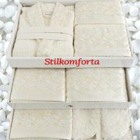 Парные халаты в наборе, полотенца, папочки Сарен 25 предметов