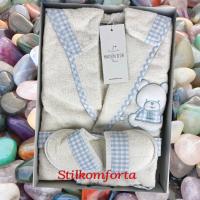 Детский махровый халат с капюшоном и тапочками для мальчика Эльф